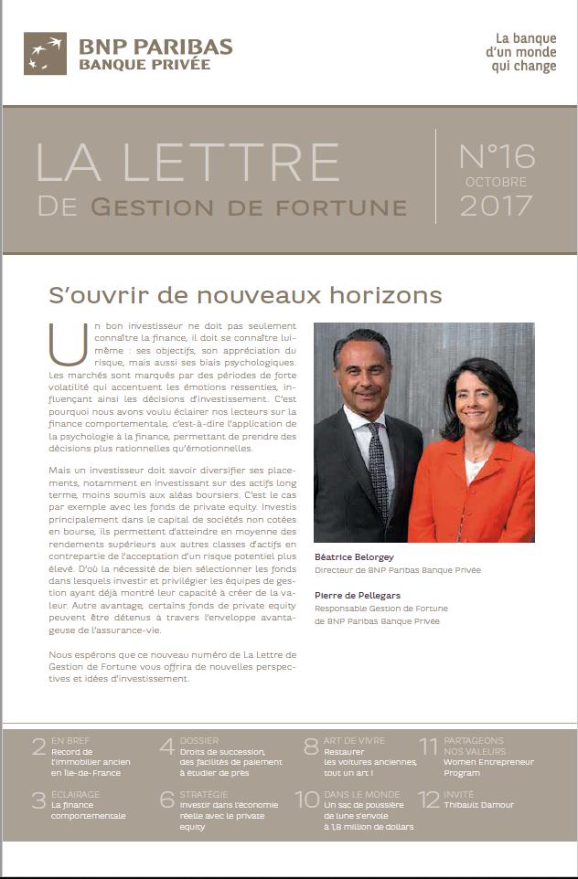 BNP Paribas Banque Privée - Lettre Gestion de Fortune n°16